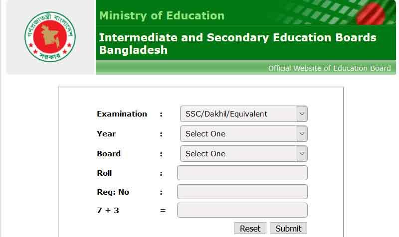 SSC Result through Official Website