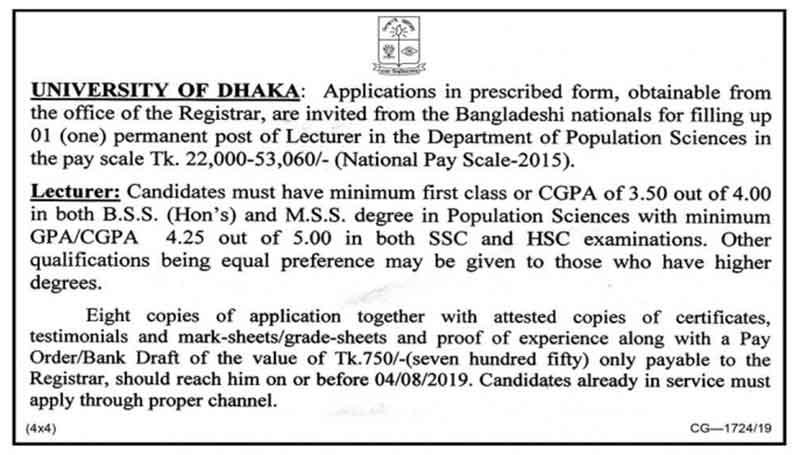 Lecturer, Department of Population Sciences